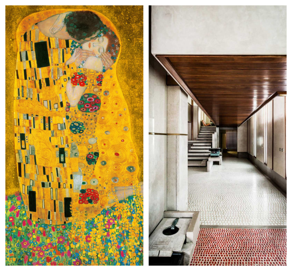 "Stânga: ""Sărutul"" lui Gustav Klimt, Dreapta: Fotografie din sediul Olivetti."
